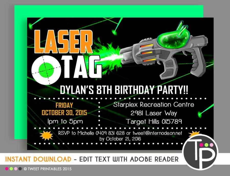 LASER TAG INVITATION Instant download Laser Tag Invitations