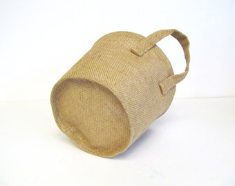 Burlap Bucket Baskets, set of Three, Natural Jute Soft Handle Container for Crafting, Painting, Embellishment