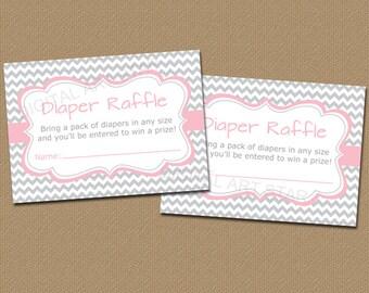 Diaper Raffle, Diaper Raffle Tickets, Diaper Raffle Girl, Baby Shower Diaper Raffle, DIY Diaper Raffle, Girl Baby Shower Ideas Pink Gray BB1