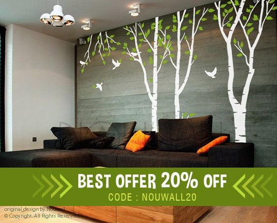 & Wall Decal Art Wall Sticker Tree Decal forest tree Wall