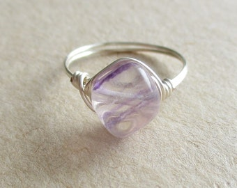 Fluorite gemstone smooth nugget bead wire wrapped ring - size 5 1/4