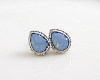 Teardrop Stud Earrings ~ Robbin's Egg ~ Titanium Post Earrings ~ Swarovski Air Blue Opal ~ Bridesmaid Gift ~ Titanium Stud ~ Simple Modern