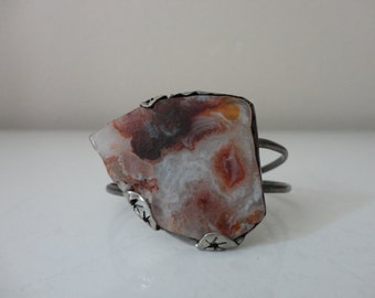 VINTAGE red brown agate slice silver CUFF BRACELET