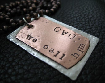 Mixed Metal Mens Hand Stamped Jewelry  Dog Tag Necklace