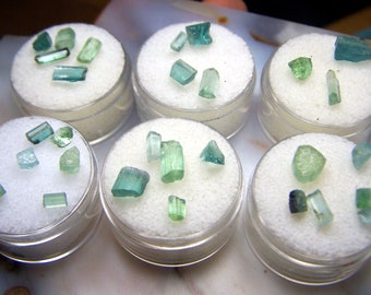 Tourmaline crystals - blue and green small raw rough natural stone - tiny natural genuine gemstone pieces wire wrap accent - gem jar ZLTSK