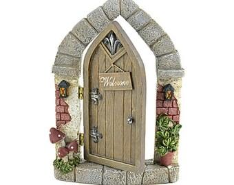 Welcome Fairy Door, Miniature Fairy Garden Door, Hinged Door for Fairy Gardens, Terrariums, Outdoor Gardens, and FairyTale Room Decor