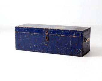 vintage tool box, blue wood workman's box