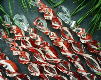 7 RED & WHITE Striped Borosilicate Glass Icicle Christmas Ornaments