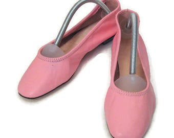 60s Pink Shoes Pink Ballet Flats Pink Leather Slippers Pink Flats Fold Up Slippers 1960s Pink Slippers Low Heeled Pink Dance Slippers