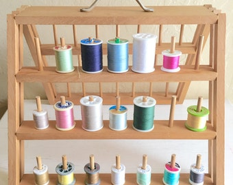 Large Folding Wooden Thread Storage Rack Stand 42 Dowel Thread Spool Pins
