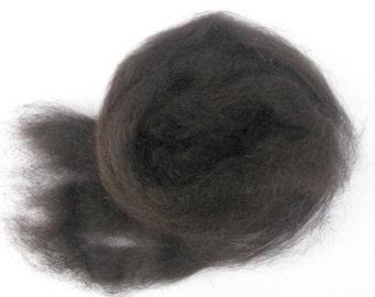 Spinning and Felting Black Alpaca Roving, Black Fiber, 2 ounces