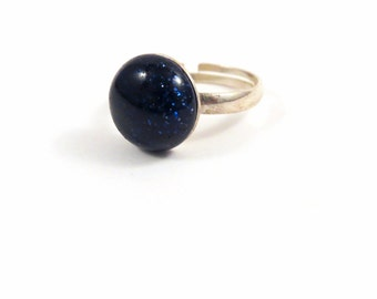 Blue Sandstone Goldstone Ring- Sterling Silver Crystal Ring- Blue Crystal Stone Ring Sparkly Galaxy Ring- Space Ring- Adjustable Ring