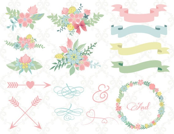 Digital Wedding Floral Clipart Flower Wreath Frame Arrow Clip Art Invitation Instant Download