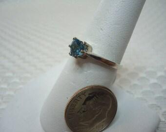 Heart Cut Brazilian London Blue Topaz Ring in Sterling Silver  #2195
