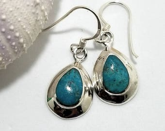 Turquoise Tear Drop Semi-Precious Gemstones, encased in Sterling Silver, December Birthstone #530