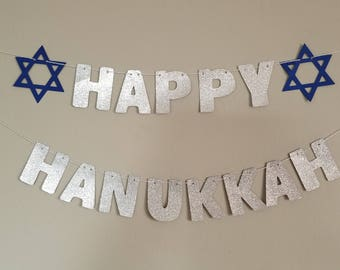 Hanukkah banner | Hanukkah decorations | Happy Hanukkah silver glitter garland with blue Stars of David | Jewish holiday decoration