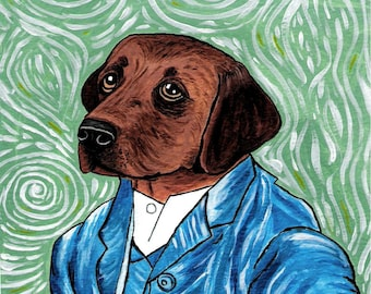 Vincent Van Lab Dog Print from Original Painting