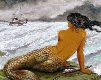 MERMAID Painting Art Print 8.5 X 11 Great Greek Mythology Siren Best NEW Sea Fantasy by Fish Artist Barry Singer