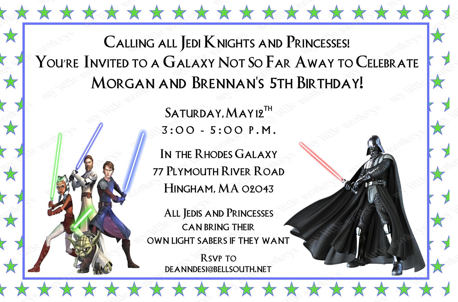 Auguri Matrimonio Star Wars : Starwars birthday invitations with envelopes free return