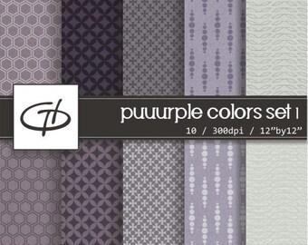 Puuurple Digital Paper set: high quality printable paper set, fiber paper texture, shades of purple