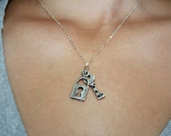 """Handmade Sterling Silver Chain Necklace,  Vintage Silver Lock & Key  Charm Necklace,   Gift For Her  Necklace,   """"Key Of My Heart""""  Necklace"""
