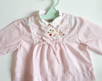 The top gingham 18 month Pink for girl retro vintage embroidered Bird on branch pattern. Bow and lace.