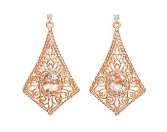 Oval Pink Morganite Diamond Rose Gold Earrings