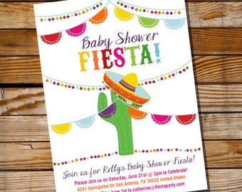 Mexican Fiesta Baby Shower Invitation - Baby Shower Fiesta Invite - Instant Download and Edit with Adobe Reader