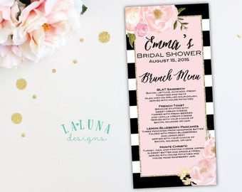 Bridal Shower Menu, Floral Black & White Stripe Bridal Shower Menu, Pink and Gold Glitter Bridal Shower, Printable Menu, Wedding Menu