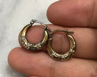 """0.5"""", gold over Sterling silver earrings, solid 925 silver twisted hoops, stamped 925"""