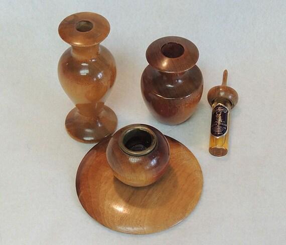 Vintage Oregon Myrtlewood Myrtle Wood.. Vase, Candlestick & Perfume With Holder