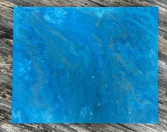 Large Original Abstract Blue With Veins of Gray Acrylic Pour Painting