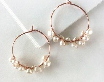 Freshwater Pearl Hoop Earrings - Rose Gold-Filled
