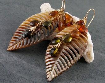 Tourmaline earrings, handmade carved shell feather earrings-OOAK