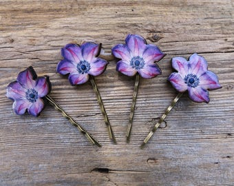 Clematis, flowers, hair accessories, bobby pin, flower hair pin, wedding accessories, bridesmaid accessories, hair decoration, handmade pin