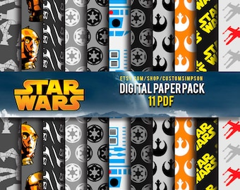 90% Off SALE Star Wars Digital Paper Pack - **** OFFER **** scrapbook paper  pack that comes with 11 printable papers.