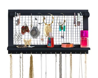Espresso Jewelry Organizer with Bracelet Rod - Hold and Organize your Necklaces Bracelets Earrings and other Accessories - Wall Mounted