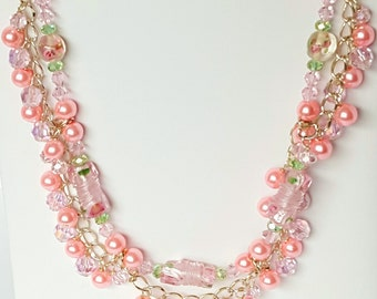 Pink Beaded Charm and Chain Necklace