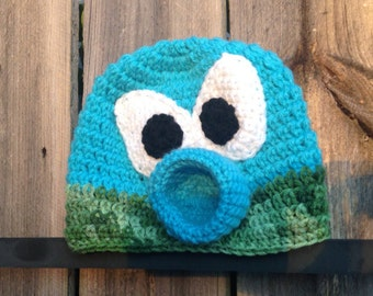 Crochet Pea Shooter Plant Zombie Beanie Hat and Ice Pea Shooter. Great Halloween Costume Addition!