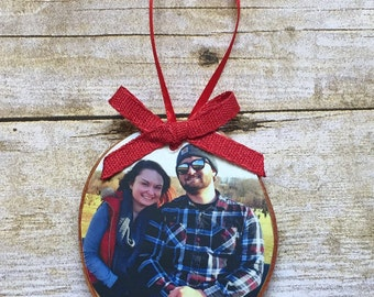 Merry Christmas Photo Ornament | Custom Photo Ornament | Personalized Wood Ornament | Christmas Ornament | Hand lettered | Rustic Decor