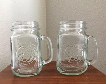 2 Vintage Golden Harvest Drinking Jars, Mason Jar Mugs, Mason Jar Drinking Glasses with Handles, Golden Harvest Mugs 16 oz, 1980s