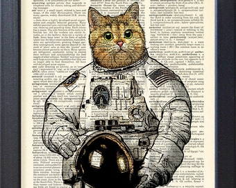 Cat astronaut Art Print Poster, Space suit, upcycled dictionary Book Pages, Home DORM Wall Art decor, CODE/050