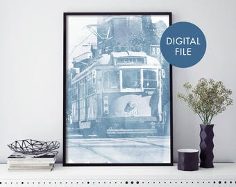 Melbourne Tram Watercolour Print Wall Art | Print At Home | Digital Download File