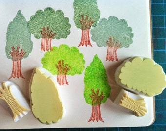 tree rubber stamp | woodland forest stamp | diy birthday card making | summer crafts | gift for kids | hand carved stamp by talktothesun