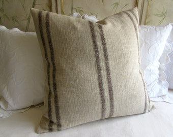 French Country herringbone stripes brown and sage pillow cover 20x20