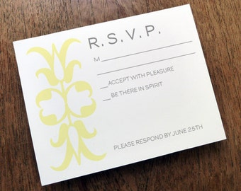 Printable RSVP Card - Response Card Download - Instant Download - RSVP Template - Response Card -Light Yellow Decorative Symbol - Gray Text