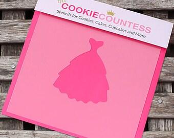 Wedding Dress Cookie Stencil, Wedding Dress Sugar Cookie Stencil, Wedding Fondant Stencil, Cookie Countess Cookie Stencil, Dress Stencil