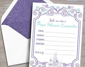 CUSTOM Disney Princess Invitation, Purple & Aqua // DOWNLOAD // Party Decor // Printable, Digital