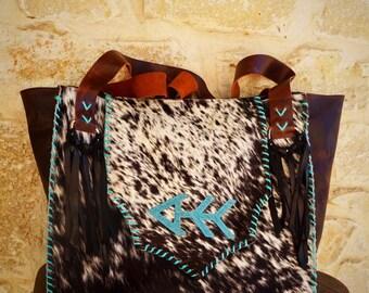 custom livestock brand cowhide bag