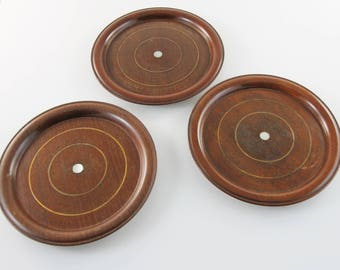 Antique three plain bottle coaster with MOP inlay